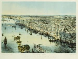 A Bird's Eye View of Philadelphia, Printed by Sarony & Major, New York, 1850 by John Bachman