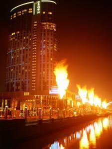 Fire Show in Front of Crown Casino, Melbourne, Australia by John Banagan