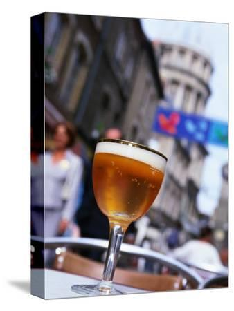 Glass of Beer at Cafe with Cathedral in Background, Boulogne-Sur-Mer, France