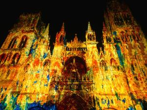 Light Show Projected on Rouen Cathedral, Rouen, France by John Banagan