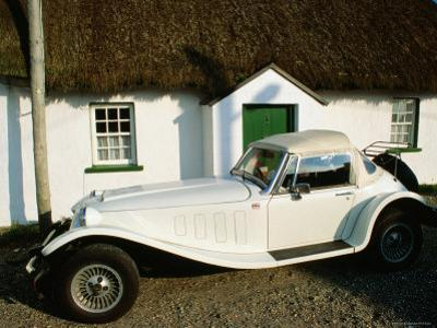 Mg Sports Car Outside Thatched Cottage, Tipperary, Munster, Ireland