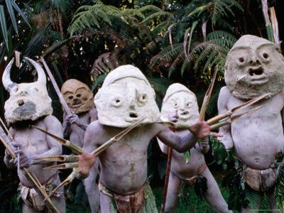 Mud Men at Pogo Cultural Centre, Mt. Hagen, Western Highlands, Papua New Guinea