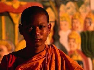 Portrait of Novice Monk, Phnom Penh, Cambodia by John Banagan