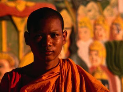 Portrait of Novice Monk, Phnom Penh, Cambodia by John Banagan