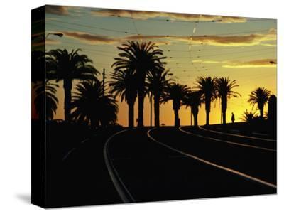 Sunset on Tram Tracks of St. Kilda Esplanade, Melbourne, Australia
