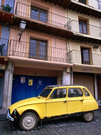 Yellow Citroen Parked Outside Apartments, Calatayud, Spain
