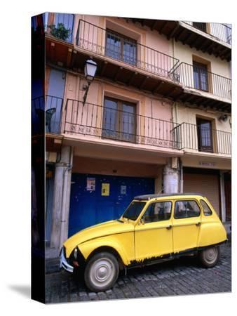 Yellow Citroen Parked Outside Apartments, Calatayud, Spain