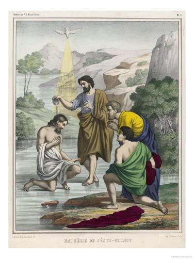 John Baptises Jesus While the Holy Dove Hovers Overhead--Giclee Print