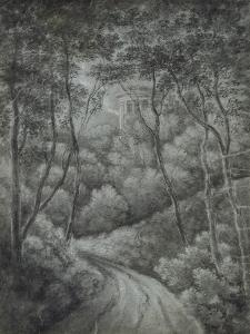 Landscape with a Path Through a Forest and a Classical Temple (Soft Graphite and White Chalk on Blu by John Baptist Malchair