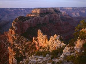 Arizona, North Rim, Sunrise Light Brightens Wotans Throne and Surrounding Canyon, from Cape Royal by John Barger