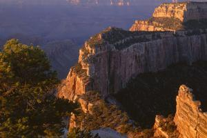 Arizona, North Rim, Sunrise Light Brightens Wotans Throne, from Cape Royal by John Barger