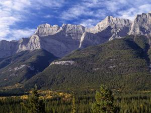 Canada, Alberta, Banff National Park, Mount Rundle Rises Above the Bow Valley by John Barger