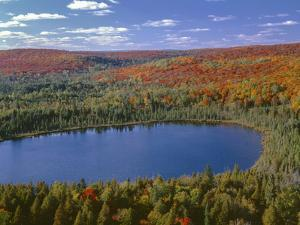 USA, Minnesota, Superior National Forest, Fall Colored Northern Hardwood Forest and Oberg Lake by John Barger