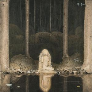 Princess Tuvstarr Is Still Sitting There Wistfully Looking into the Water, 1913 by John Bauer