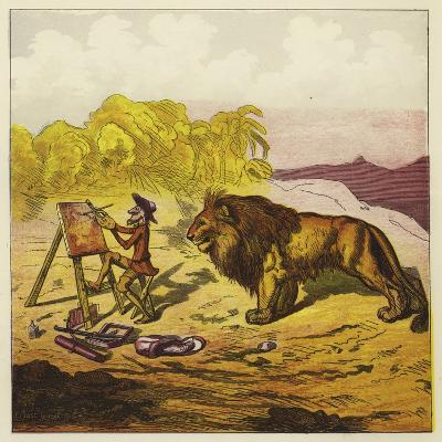 John Bold Surprised by a Lion While Painting-Ernest Henry Griset-Giclee Print