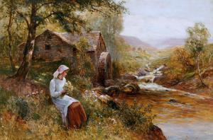 A Young Girl Picking Spring Flowers by John Brett