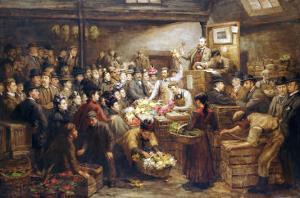 An Edinburgh Flower Market, Circa 1899 by John Brett