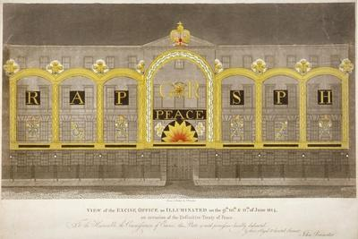 View of the Excise Office, Old Broad Street, City of London, as Illuminated in June 1814