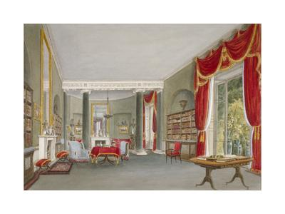 Interior View of the Library Drawing Room in Bromley Hill, Bromley, Kent, 1816