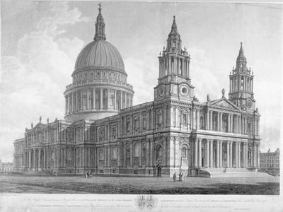 North-West View of St Paul's Cathedral, City of London, 1814