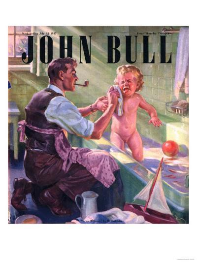 John Bull, Babies Baths Fathers Pipes Smoking Decor Bathrooms Magazine, UK, 1947--Giclee Print