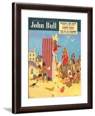 John Bull, Holiday Beaches, Punch and Judy Puppets Magazine, UK, 1950--Framed Giclee Print