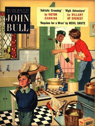 John Bull, Naughty Milkman, Women in Kitchen Magazine, UK, 1955--Giclee Print