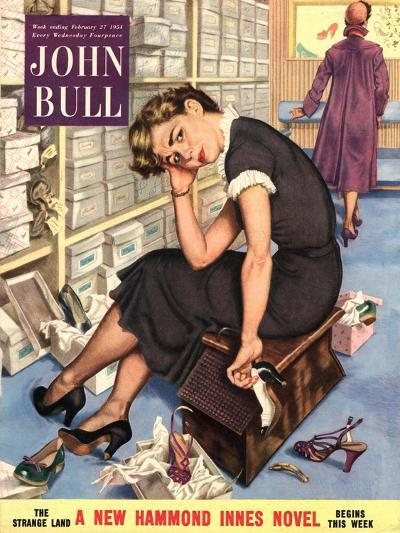 John Bull, Tired Fed-Up Stress Exhausted Sales Assistants Shoes Sales Shopping Magazine, UK, 1954--Giclee Print