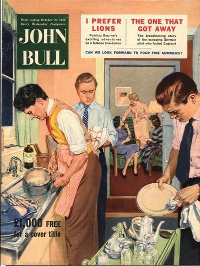 John Bull, Washing Up Dishes Magazine, UK, 1956--Giclee Print