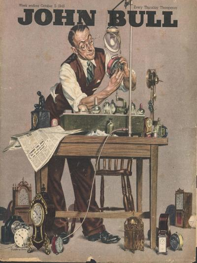John Bull, Watch Clock Repairing Menders Man Clocks Magazine, UK, 1948--Giclee Print