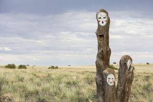 Painted Faces on Trees. Navajo Reservation, Arizona by John Burcham