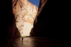 Silhouette of a Hiker in Paria Canyon, Arizona by John Burcham