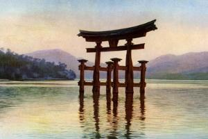 Torii of Itsukushima Temple in Miyajima Island, Japan, C1930S by John Bushby