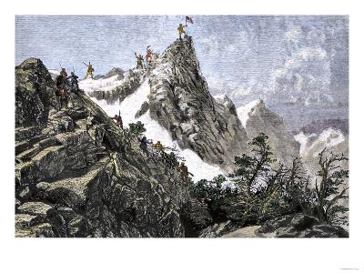 John C. Freemont Planting the U.S. Flag on the Colorado Rockies, c.1842--Giclee Print