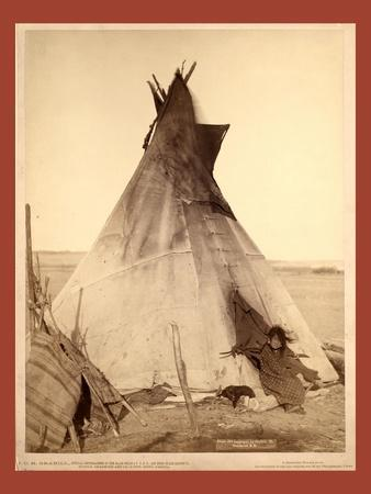 A Young Oglala Girl Sitting in Front of a Tipi