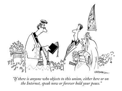 """""""If there is anyone who objects to this union, either here or on the Inter?"""" - New Yorker Cartoon"""