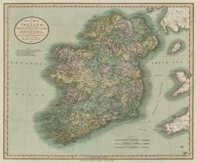Vintage Map of Ireland by John Cary