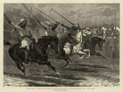 Military Life in India, Native Cavalry Tent-Pegging in Sections
