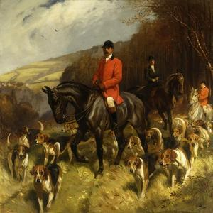 Mr and Mrs Lewis Priestman on Hunters with the Braes of Derwent Hunt in a Landscape by John		 Charlton