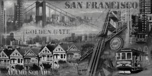 San Francisco Panorama in Black and White I by John Clarke