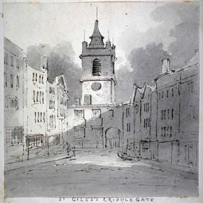 Church of St Giles Without Cripplegate from Fore Street, City of London, 1790