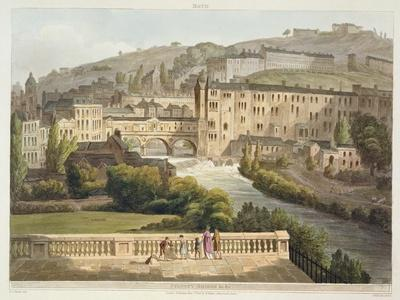 Pulteney Bridge, from 'Bath Illustrated by a Series of Views', Engraved by John Hill