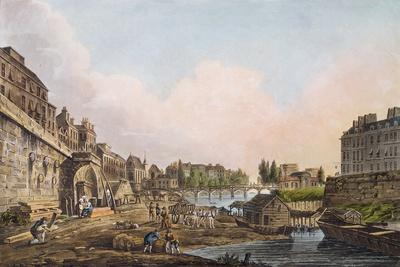 View of the Seine from Beneath an Arch of Pont Notre-Dame, 1805 (Coloured Aquatint)
