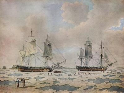The ships of Lord Mulgraves expedition of discovery embedded in ice in the Polar Regions, 1774