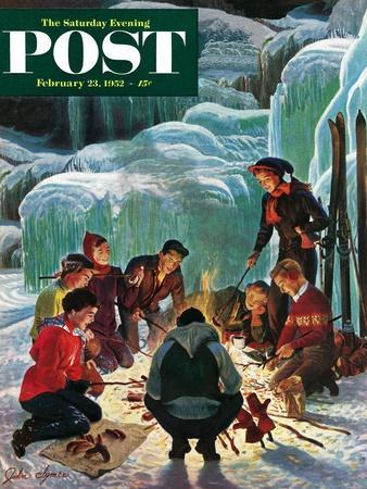 """Apres Ski Bonfire"" Saturday Evening Post Cover, February 23, 1952"