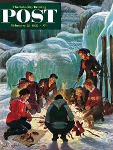 """Apres Ski Bonfire"" Saturday Evening Post Cover, February 23, 1952 by John Clymer"