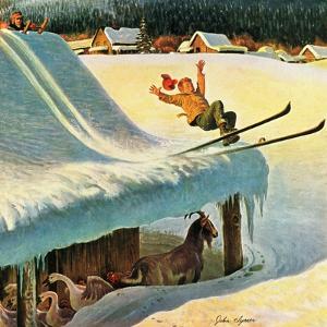 """Barn Skiing"", February 17, 1951 by John Clymer"