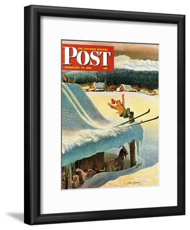 """Barn Skiing"" Saturday Evening Post Cover, February 17, 1951"