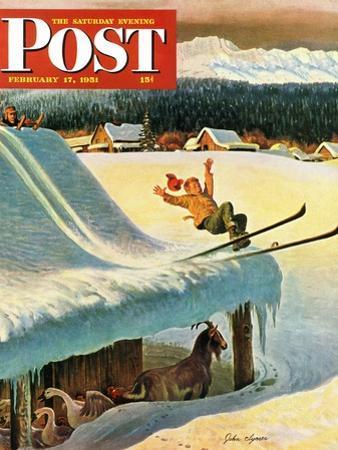 """Barn Skiing"" Saturday Evening Post Cover, February 17, 1951"