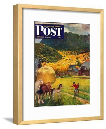 """Belgian Horse Farm,"" Saturday Evening Post Cover, October 8, 1949"